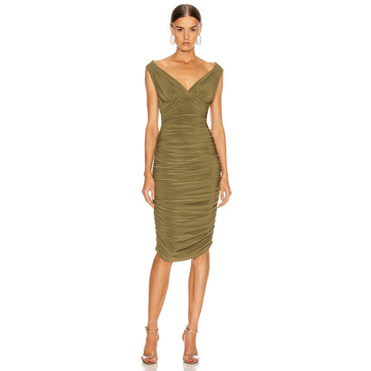 Dark Green Sleeveless Ruched Over The Knee Bodycon Dress