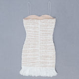 White Strappy Lace Ruffled Mini Bandage Dress