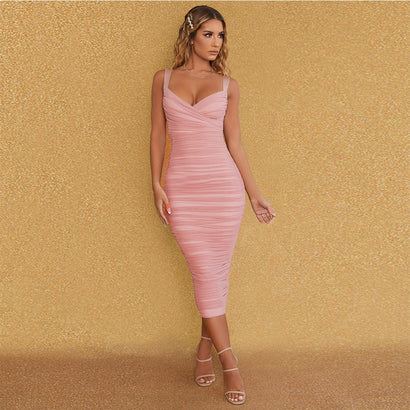 Pink Sleeveless Ruched Bodycon Midi Bandage Dress