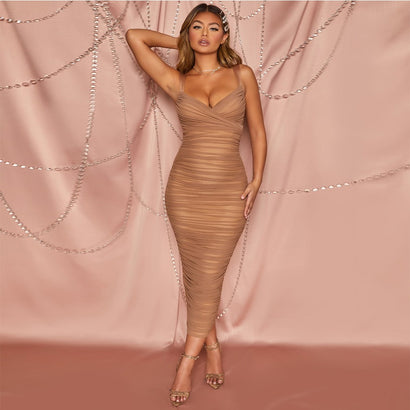 Nude Sleeveless Ruched Bodycon Midi Bandage Dress