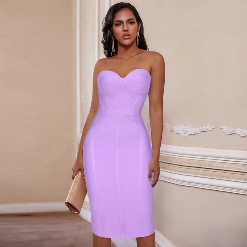 Lavender Strapless Over The Knee Bandage Dress