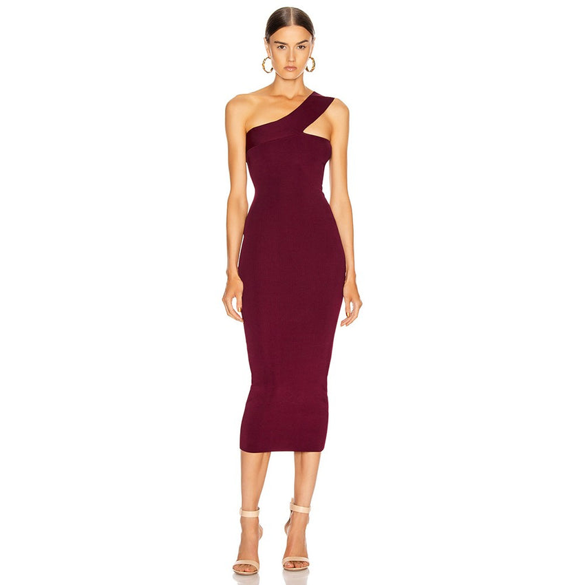 Burgundy One Shoulder Midi Bandage Dress