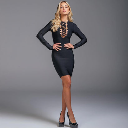 Black Long Sleeve Criss Cross Chest Bandage Dress