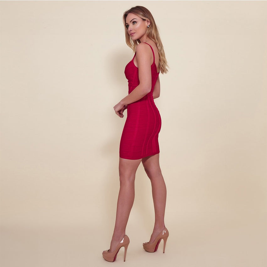 Red Strappy Mini Bandage Dress