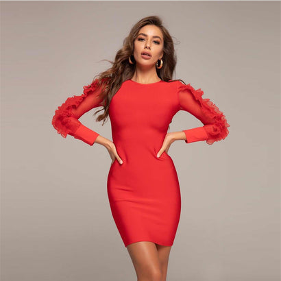 Red Ruffle Long Sleeve Mini Bandage Dress