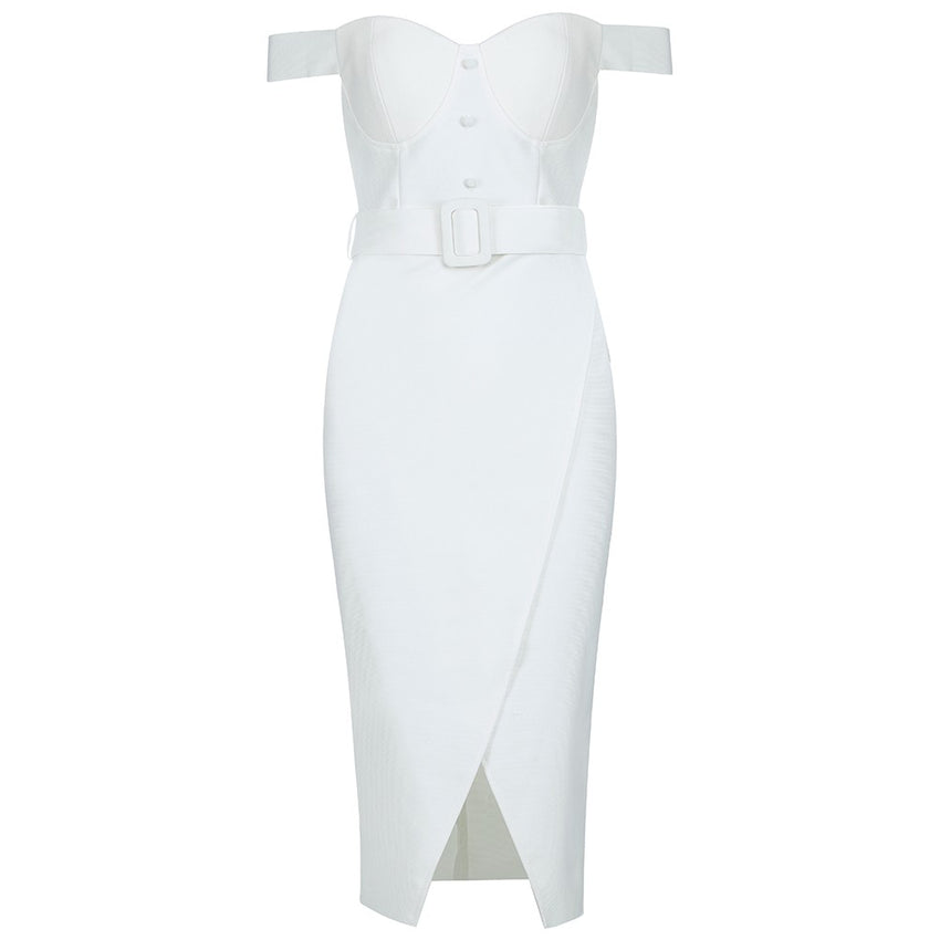 White Off Shoulder Over the Knee Slit Bandage Dress