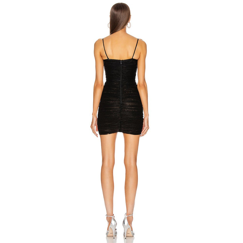 Black Spaghetti Strap Mini Tie Bandage Dress