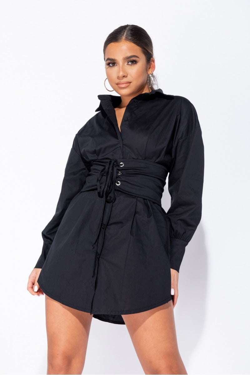 Black Long Sleeve Shirt Dress With Eyelet Lace Up Belt