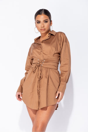 Camel Long Sleeve Shirt Dress With Eyelet Lace Up Belt