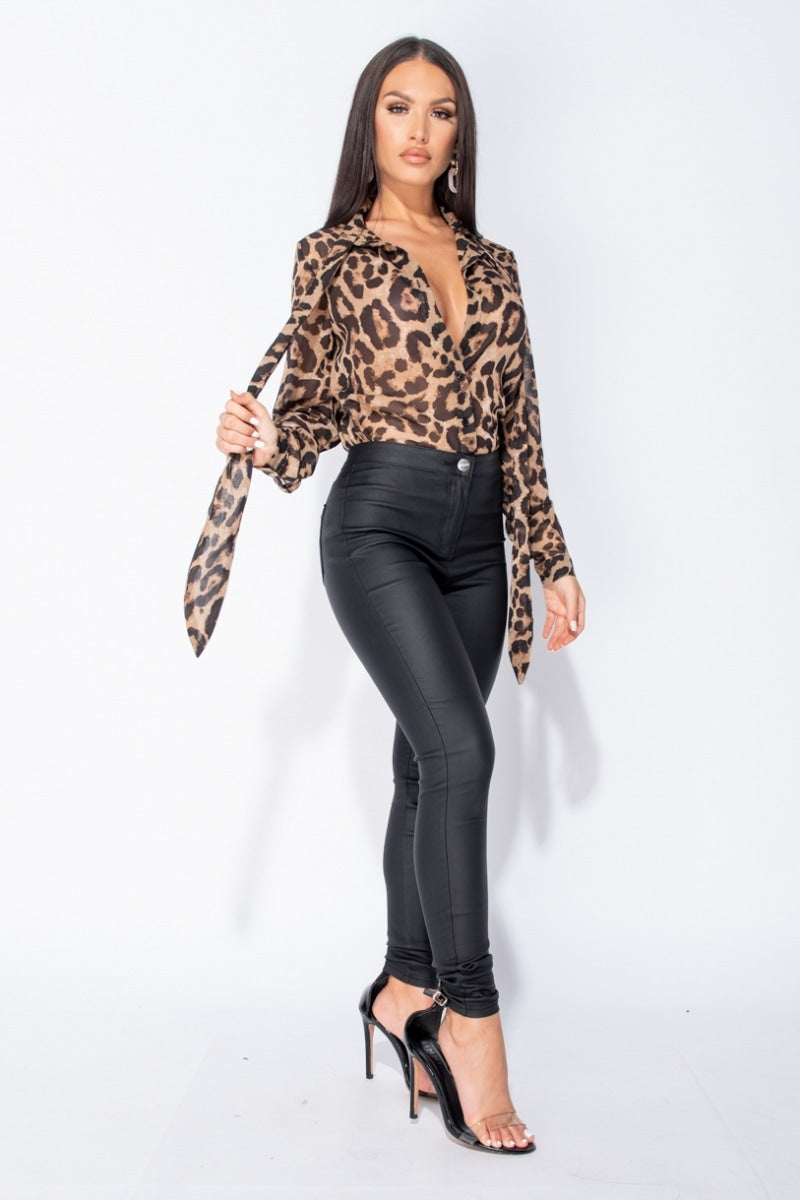 Black Beige Leopard Print Pussybow Tie Chiffon Blouse Top