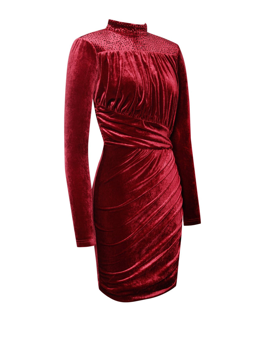 Wine Backless Velvet Dress With Crystals