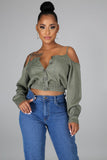 Olive Long Sleeve Off Shoulder Top