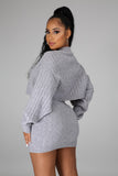 Grey Long Sleeve 2 Piece Crop Top Skirt Set