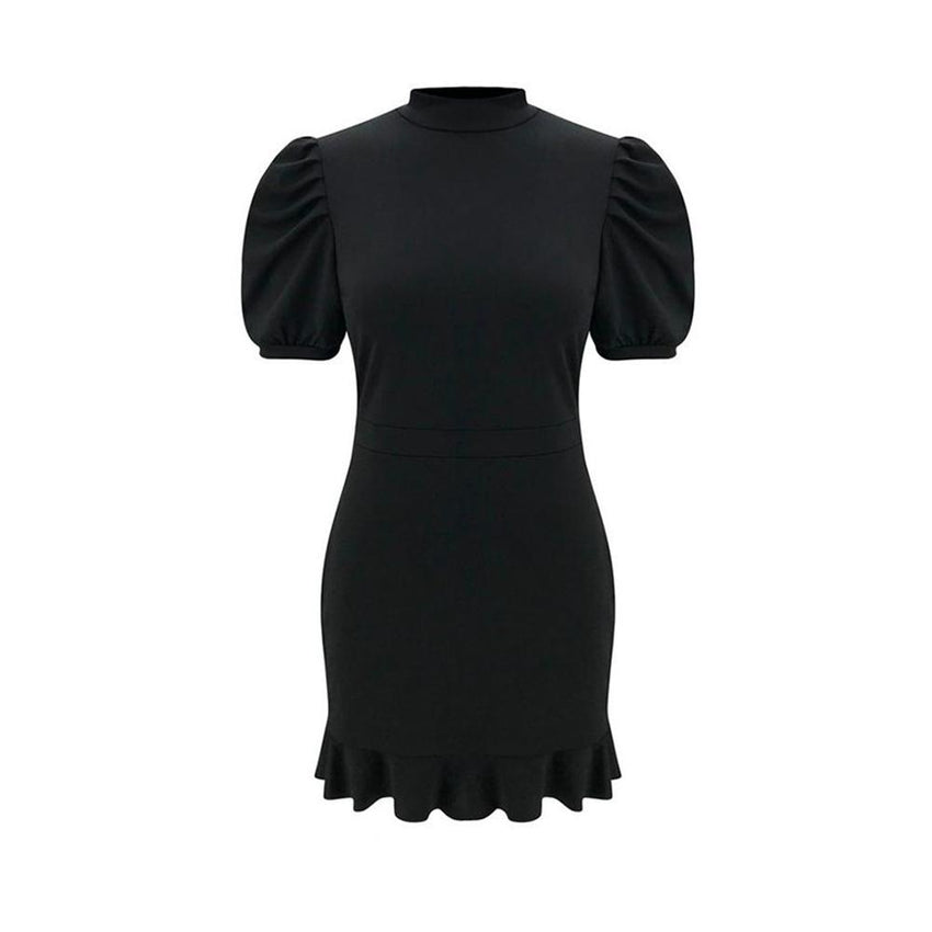 Black Short Sleeve Frill Bandage Dress