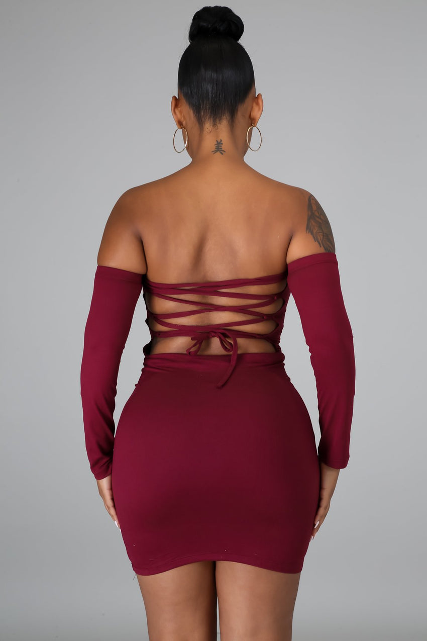 Burgundy Off Shoulder Lace Up Bodycon Dress