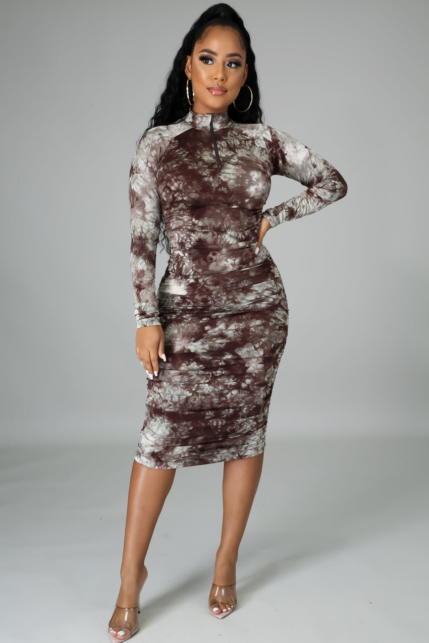 Long Sleeved Ruched Midi Dress