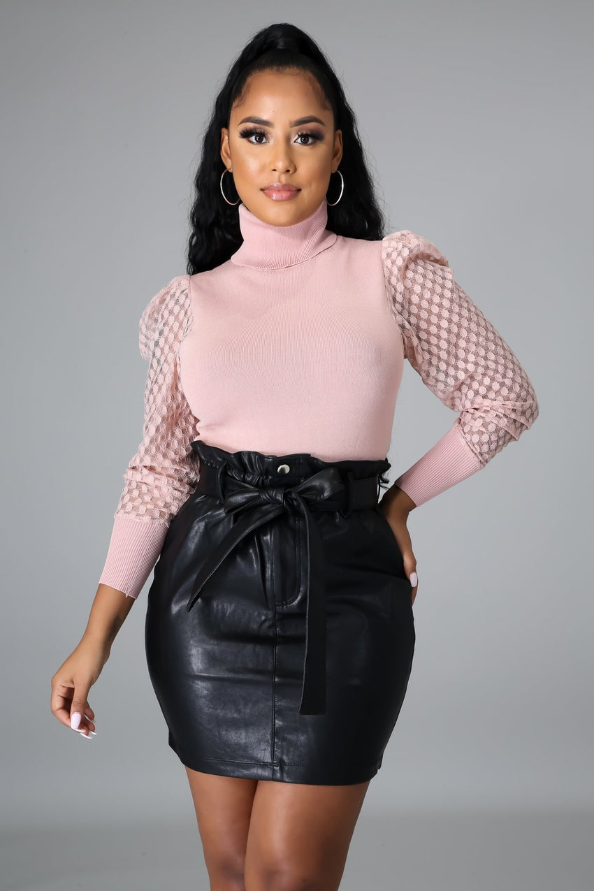 Mauve Long Sleeve Turtleneck Sweater Top