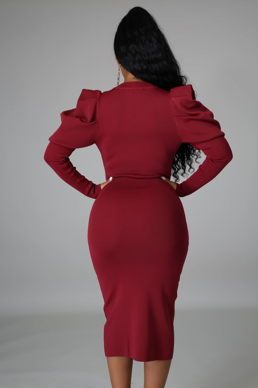 Burgundy Long Ruched Sleeve Midi Dress