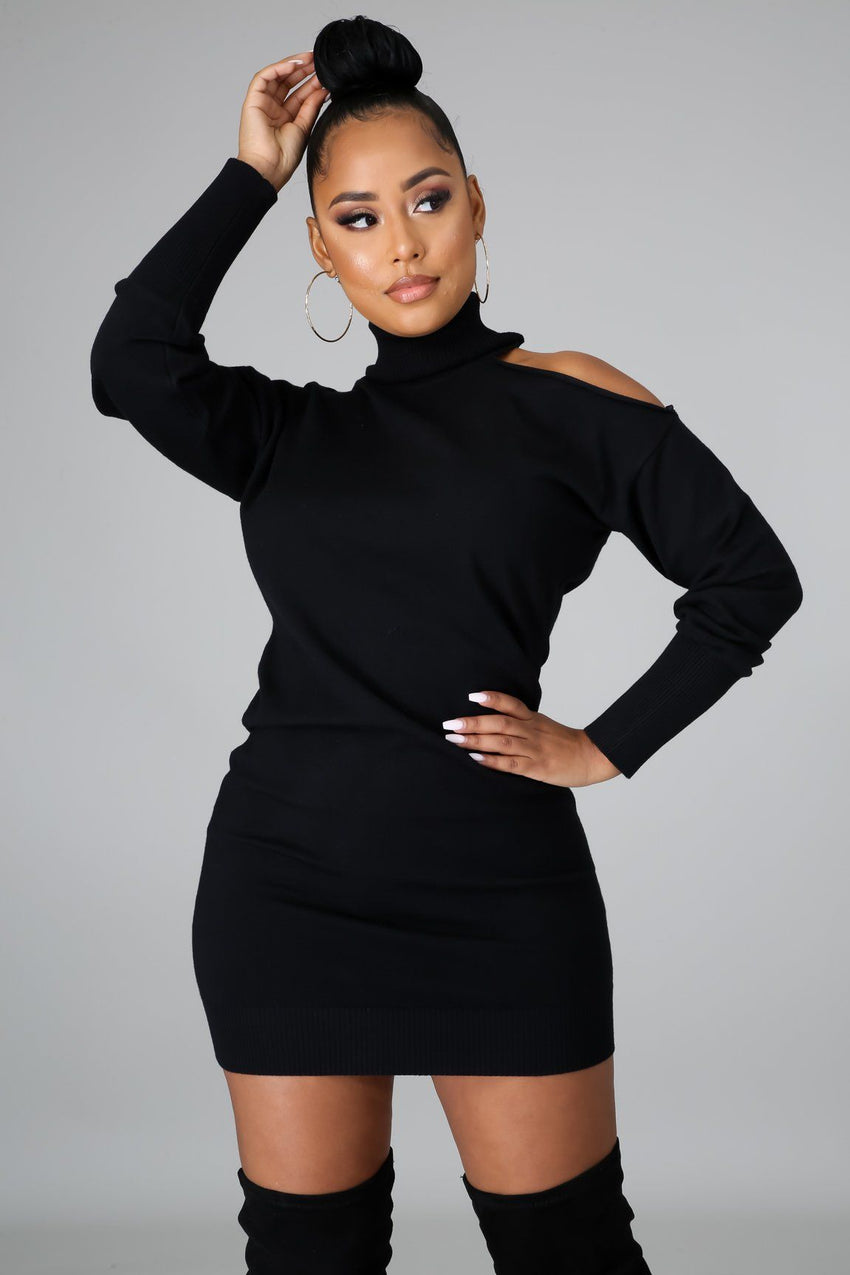 Black Long Sleeve Turtleneck Sweater Dress