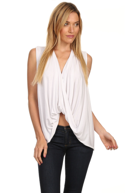 High Low Draped Top White - Rumor Apparel