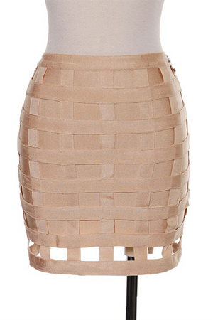 Cage Bandage Skirt Nude - Rumor Apparel