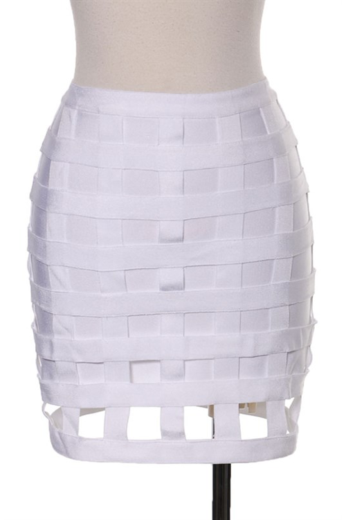 Cage Bandage Skirt White - Rumor Apparel