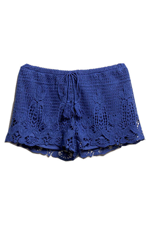 Crochet Shorts - Blue - Rumor Apparel