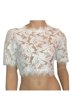 Lace Crop Top - White - Rumor Apparel