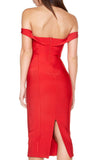 Off The Shoulder Midi Bandage Dress - Red - Rumor Apparel