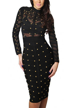 Long Sleeve Studded Midi Dress - Rumor Apparel