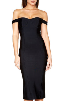 Off The Shoulder Midi Bandage Dress - Black - Rumor Apparel