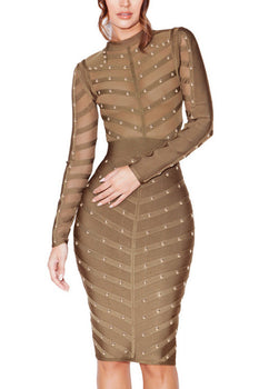 Long Sleeve Studded Midi Bandage Dress - Olive - Rumor Apparel