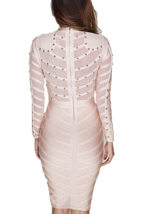 Long Sleeve Studded Midi Dress - Nude - Rumor Apparel