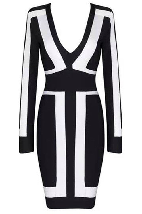Long Sleeve Black & White Bandage Dress - Rumor Apparel