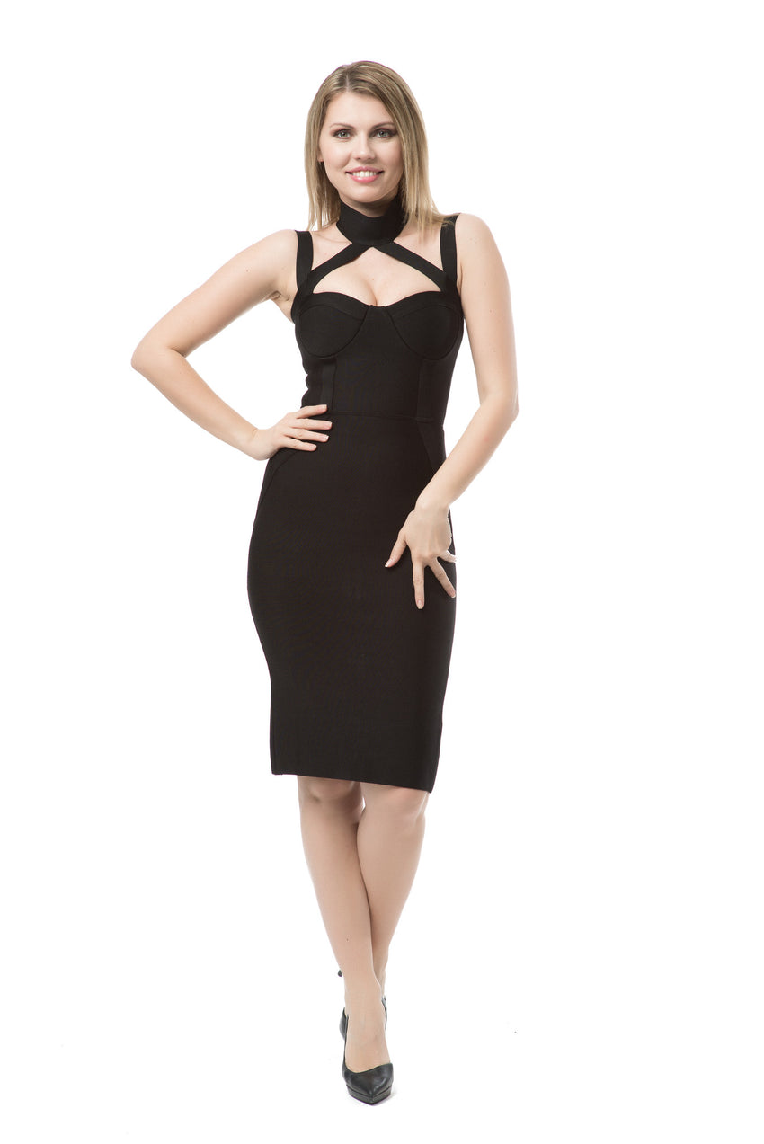 Mock Neck Cross Over Bandage Dress - Rumor Apparel