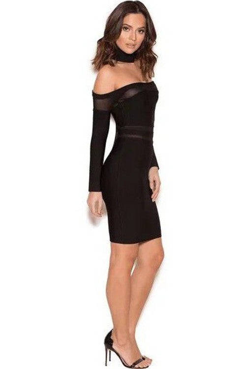 Bandage Off The Shoulder Dress - Black - Rumor Apparel