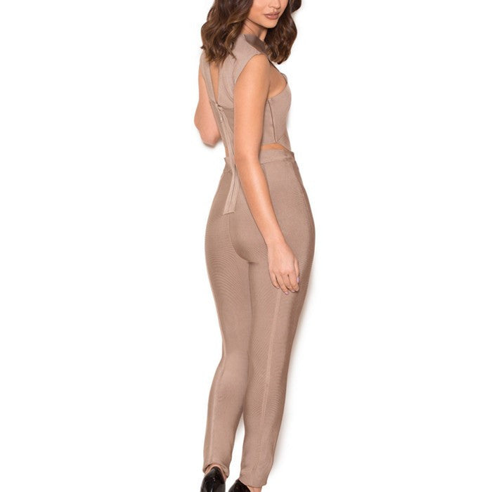 Taupe Bandage Crossover Front Jumpsuit - Rumor Apparel