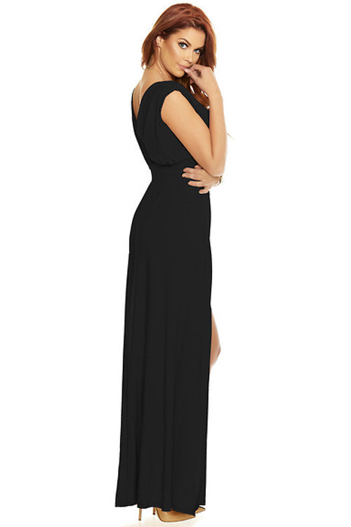 Even Split Sleeveless Gown - Black - Rumor Apparel