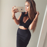 Mock Neck Cutout Bandage Two Piece Dress - Black - Rumor Apparel