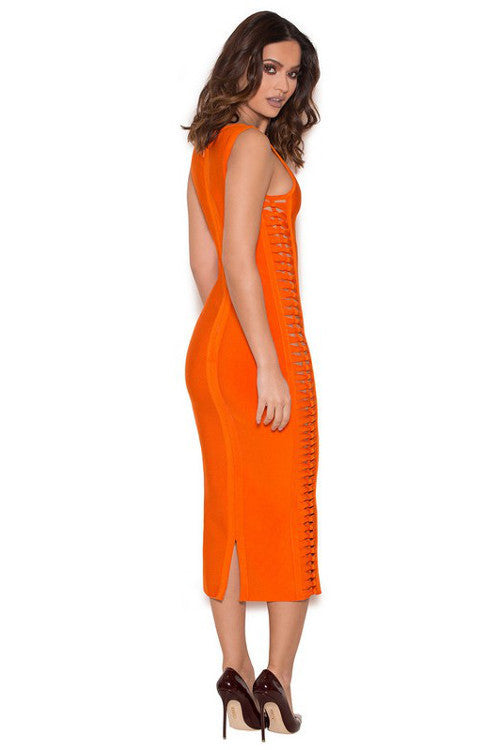 Side Weave Bandage Dress - Orange - Rumor Apparel