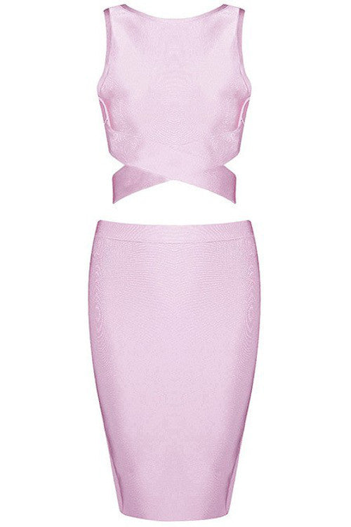 Sleeveless Two Piece Cutout Bandage Dress - Pink - Rumor Apparel