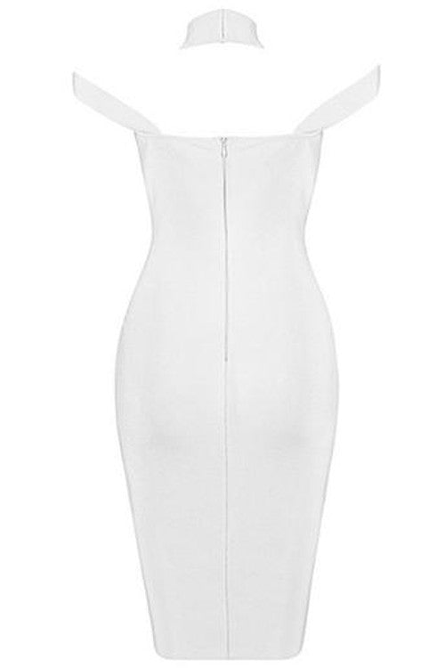 Triangle Cutout Bandage Dress - White - Rumor Apparel