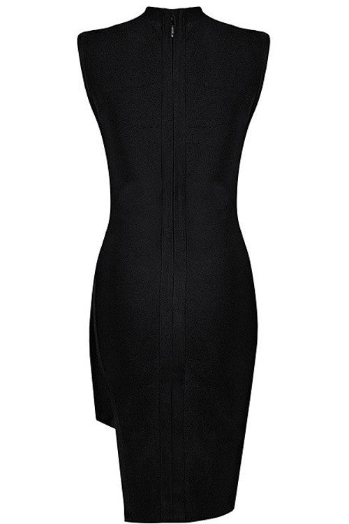 Mock Neck Cutout Bandage Dress - Black - Rumor Apparel