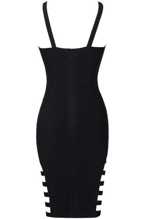 V Neck Cutout Bandage Dress - Black - Rumor Apparel