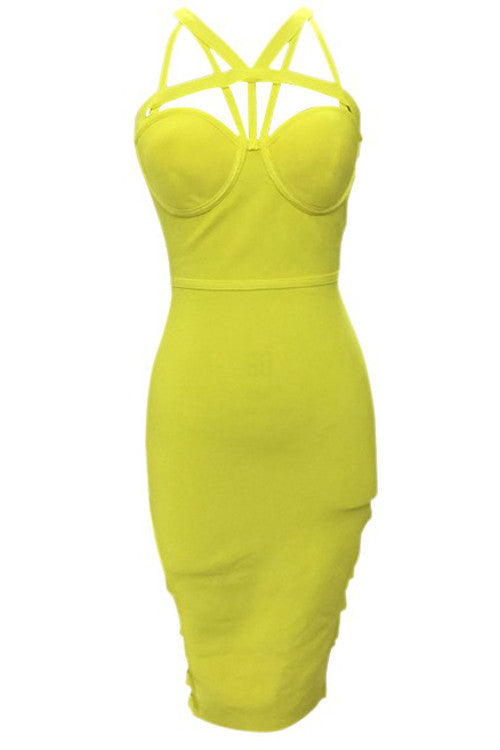 V Neck Cutout Bandage Dress - Yellow - Rumor Apparel