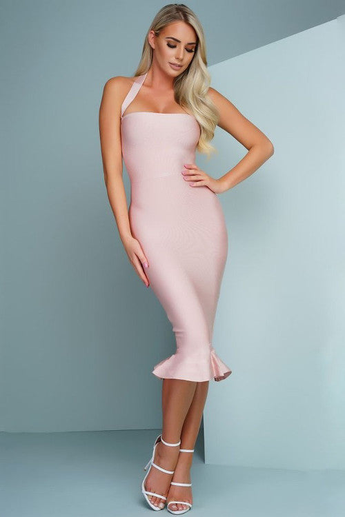 Halter Top Bandage Midi Dress - Rumor Apparel