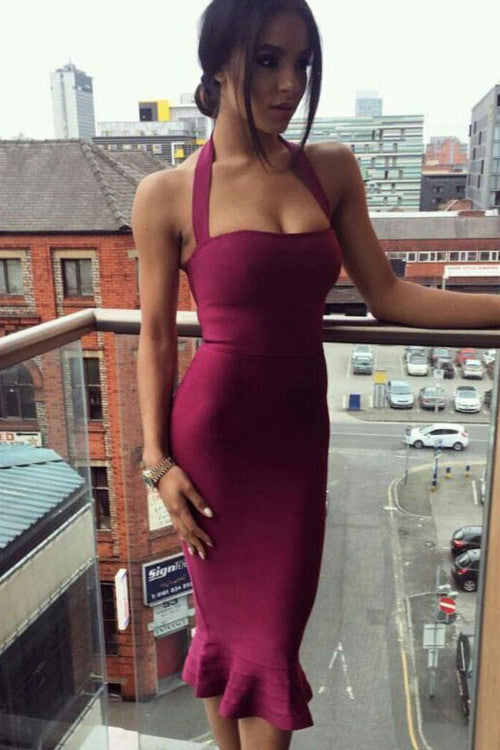 Halter Top Bandage Midi Dress - Wine - Rumor Apparel