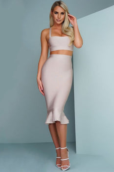 Two Piece Bandage Midi Dress - Rumor Apparel