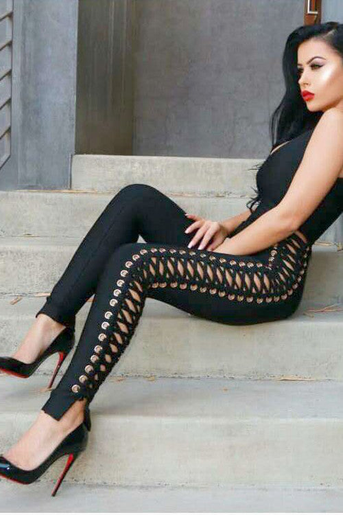 Lace Up Bandage Jumpsuit - Rumor Apparel