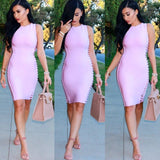 High Neck Side Cutout Bandage Dress - Rumor Apparel